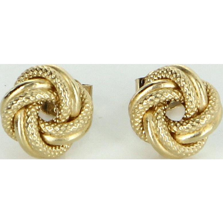 Small Infinity Knot Stud Earrings Vintage 18 Karat Yellow Gold Estate Fine Jewelry