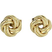 Small Infinity Knot Stud Earrings Vintage 18 Karat Yellow Gold Estate Fine Jewelry