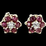 Ruby Diamond Flower Stud Earrings Vintage 14 Karat Yellow Gold Estate Fine Jewelry