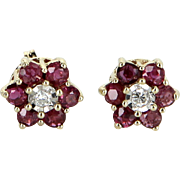 Ruby Diamond Flower Stud Earrings Vintage 14 Karat Yellow Gold Estate Fine Jewelry