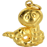 24 Karat Yellow Gold Small Worm Pendant or Charm Vintage Fine Pre Owned Jewelry