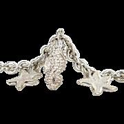 Starfish Seahorse Charm Bracelet 925 Sterling Silver Fine Jewelry English Hallmarks