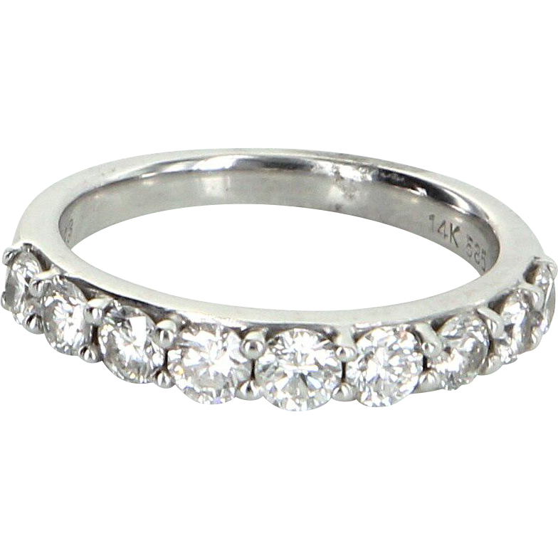 0.90ct Diamond Anniversary Band Ring Estate 14 Karat White Gold Pre Owned Jewelry