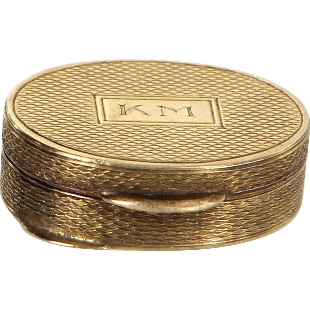 Pill Box Vintage 14 Karat Yellow Gold Fine Jewelry Trinket Estate Pre Owned Heirloom