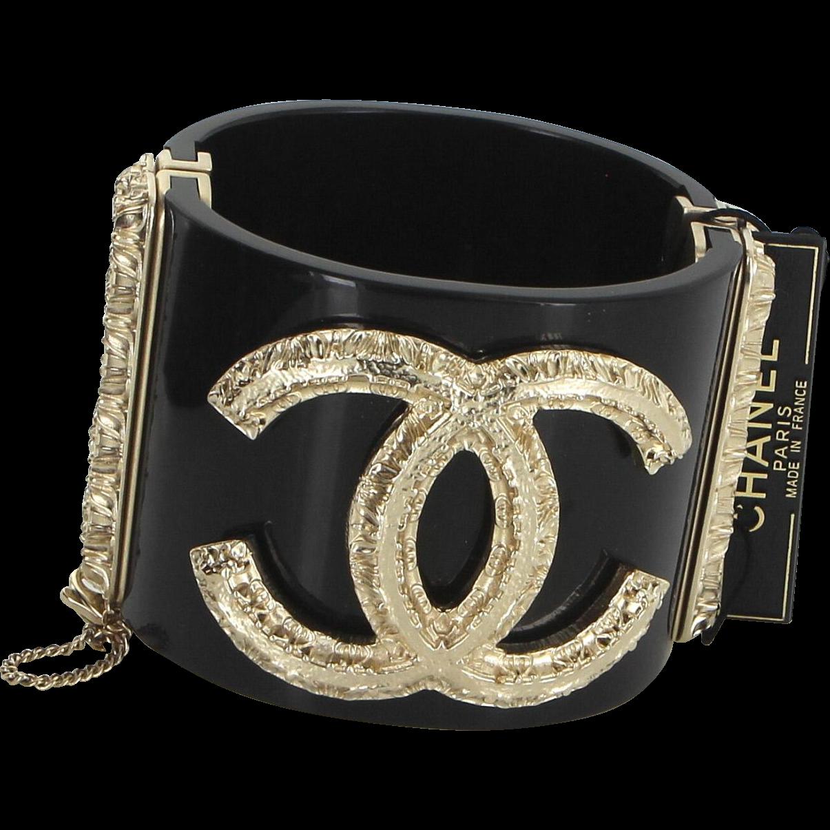 Chanel Black Double CC Logo Bangle Bracelet A2011 Designer Estate Jewelry Cuff
