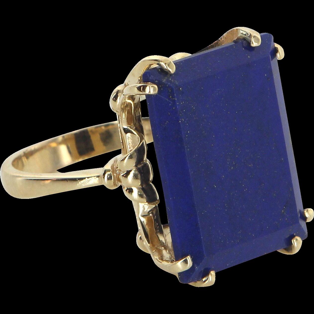 Large Lapis Lazuli Cocktail Ring Vintage 14 Karat Yellow Gold Estate Fine Jewelry