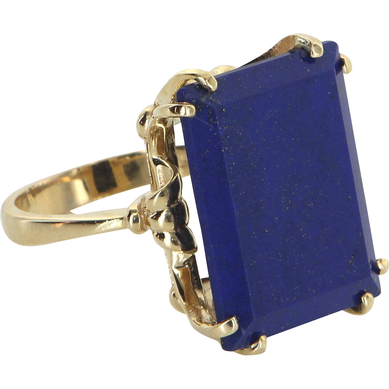 Large Lapis Lazuli Cocktail Ring Vintage 14 Karat Yellow Gold Estate Fine Jewelry