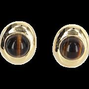 Tigers Eye Earrings Vintage 14 Karat Yellow Gold Estate Fine Jewelry Heirloom