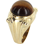 Tigers Eye Cocktail Ring Vintage 14 Karat Yellow Gold Estate Fine Jewelry Heirloom
