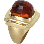 Madeira Citrine Cocktail Ring Vintage 14 Karat Yellow Gold Estate Fine Jewelry