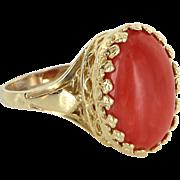 Mediterranean Red Coral Vintage 14 Karat Gold Cocktail Ring Estate Fine Jewelry