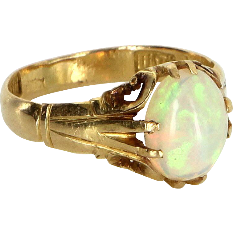 Natural Opal Ring Vintage 18 Karat Yellow Gold Estate Fine Jewelry Pre Owned