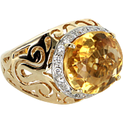 Large East West Citrine Diamond Cocktail Ring Vintage 14 Karat Yellow Gold Estate