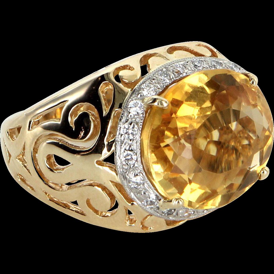 Large East West Citrine Diamond Cocktail Ring Vintage 14 Karat Yellow Gold Estate
