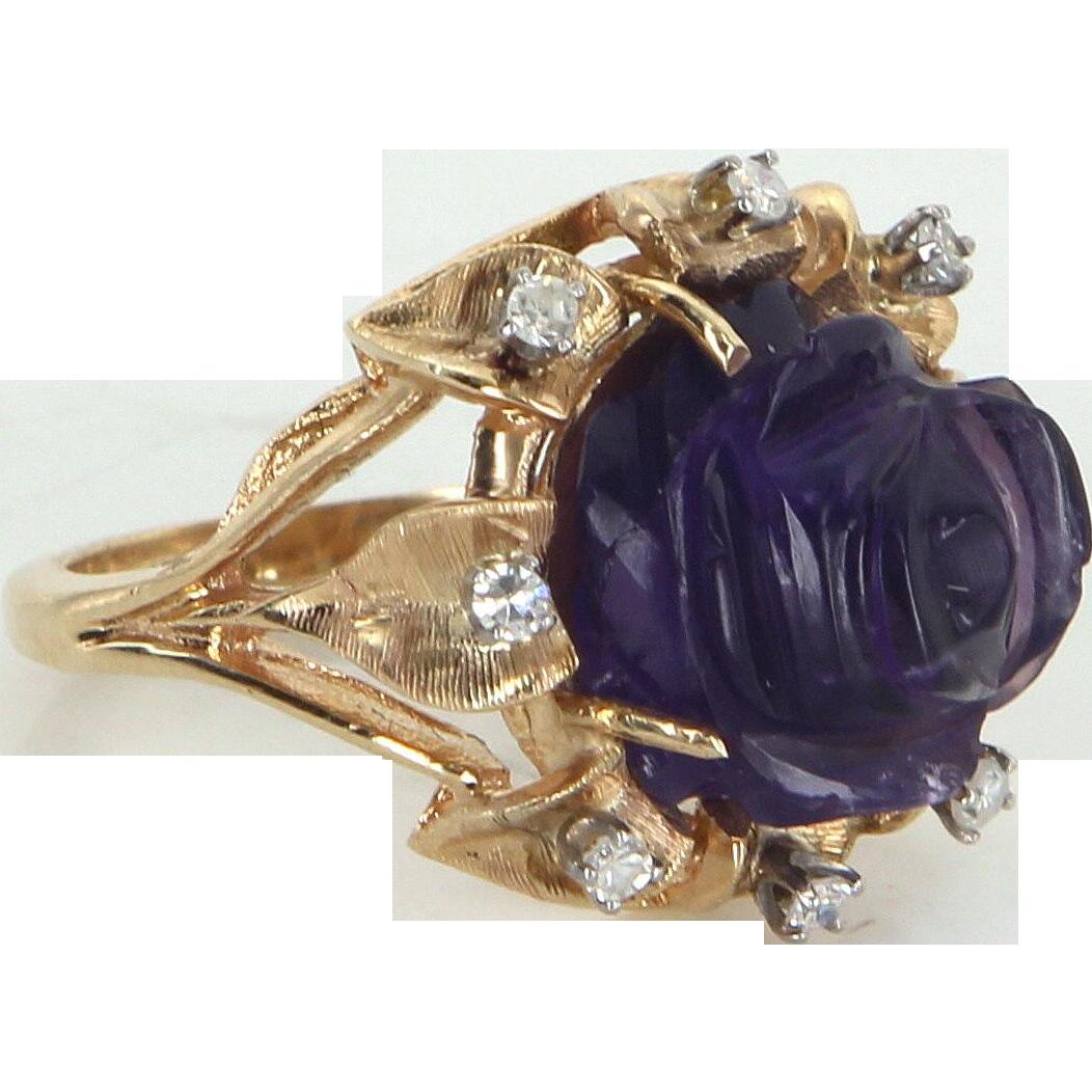 Carved Amethyst Rose Ring Diamond Vintage 14 Karat Yellow Gold Estate Fine Jewelry