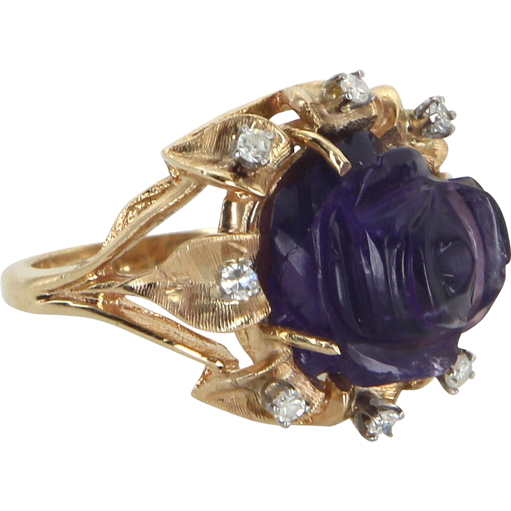 Carved Amethyst Rose Ring Diamond Vintage 14 Karat Yellow Gold Estate Fine Jewelry