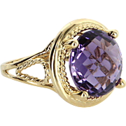 10ct Amethyst Cocktail Ring Vintage 14 Karat Yellow Gold Estate Fine Jewelry Heirloom