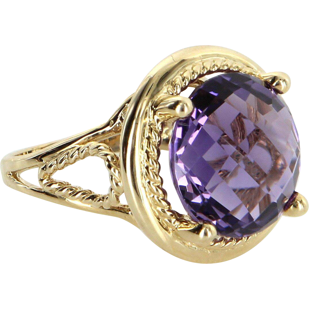 10ct Amethyst Cocktail Ring Vintage 14 Karat Yellow Gold Estate Fine Jewelry Heirloom