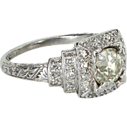 Vintage Art Deco 950 Platinum Diamond Engagement Ring Estate Fine Jewelry Heirloom