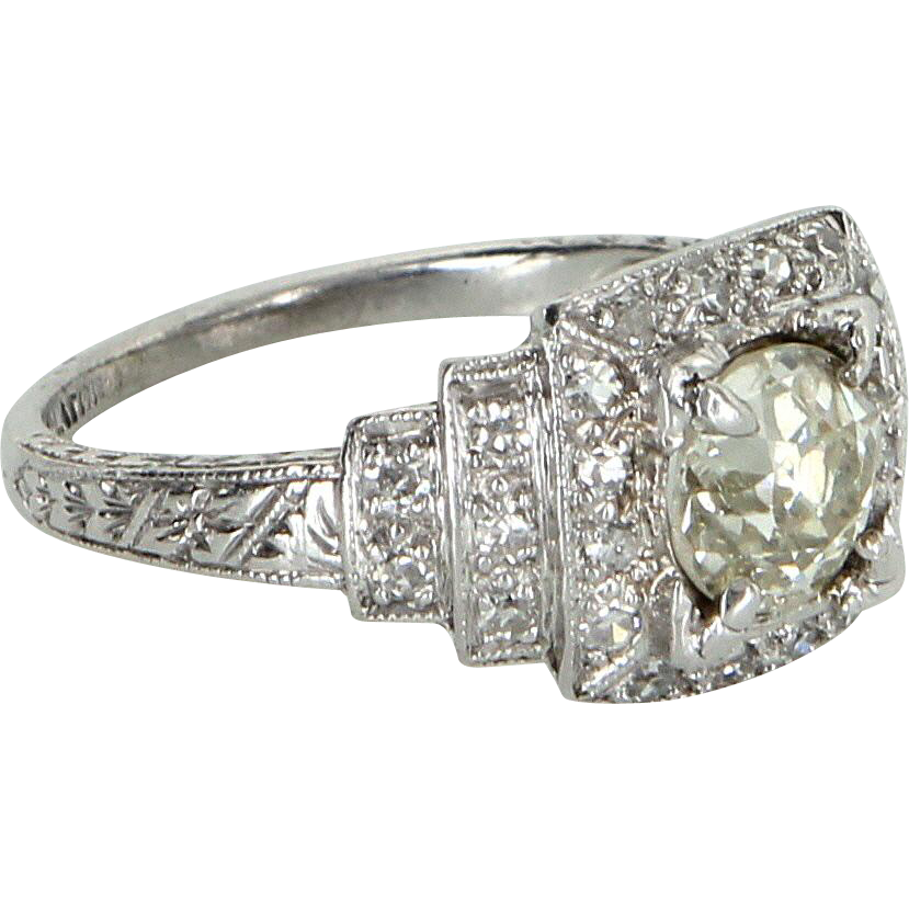 Vintage Art Deco 950 Platinum Diamond Engagement Ring Estate Fine Jewelry Heirloom