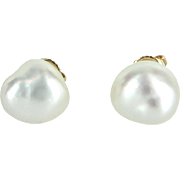 Cultured Baroque Pearl Stud Earrings Vintage 14 Karat Yellow Gold Estate Jewelry
