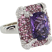 Amethyst Pink Tourmaline Diamond Cocktail Ring Vintage 14 Karat White Gold Estate Jewelry