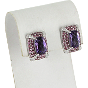 Amethyst Pink Tourmaline Diamond Earrings Vintage 14 Karat White Gold Estate Jewelry