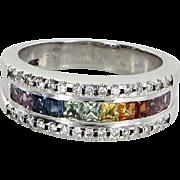Rainbow Sapphire Diamond Band Ring Vintage 14 Karat White Gold Estate Fine Jewelry