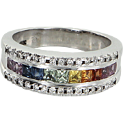 Rainbow Sapphire Diamond Band Ring Vintage 14 Karat White Gold Estate Fine Jewelry