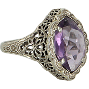 Amethyst Filigree Cocktail Ring Art Deco Vintage 14 Karat White Gold Estate