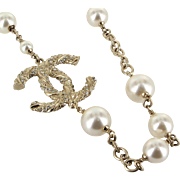 Chanel CC Logo Crystal Long Necklace or Belt Faux Pearl Gold Tone Pre Owned