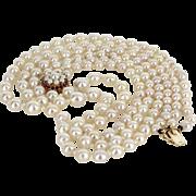 Triple Strand Cultured Baroque Pearl Necklace Vintage Ruby 14 Karat Gold Estate
