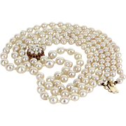 Triple Strand Cultured Baroque Pearl Necklace Vintage Ruby 14 Karat Gold Estate