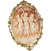 Huge The Three Graces Cameo Diamond Pendant 14 Karat Gold Vintage Fine Jewelry