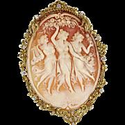 Huge The Three Graces Cameo Diamond Pendant 14 Karat Gold Vintage Fine Jewelry