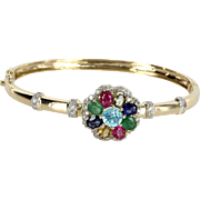Rainbow Gemstone Diamond Bangle Bracelet Vintage 14 Karat Gold Estate Jewelry Fine