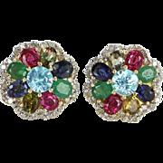 Rainbow Gemstone Diamond Cluster Earrings Vintage 14 Karat Gold Estate Jewelry