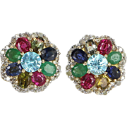 Rainbow Gemstone Diamond Cluster Earrings Vintage 14 Karat Gold Estate Jewelry