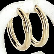 "1.5"" Round Hoop Earrings Estate 14 Karat Yellow Gold Vintage Fine Jewelry Pre Owned"
