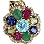 Rainbow Gemstone Diamond Pendant Vintage 14 Karat Gold Estate Fine Jewelry Heirloom