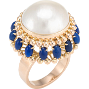 Large Mabe Pearl Lapis Lazuli Cocktail Ring Vintage 14 Karat Yellow Gold Jewelry