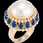 Large Mabe Pearl Lapis Lazuli Cocktail Ring Vintage 14 Karat Yellow Gold Jewelry