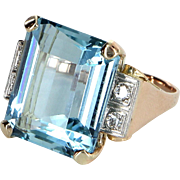 Aquamarine Diamond Cocktail Ring Vintage 14 Karat Yellow Gold Estate Fine Jewelry