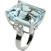 30ct Aquamarine Diamond Cocktail Ring Vintage 14 Karat White Gold Estate Fine Jewelry