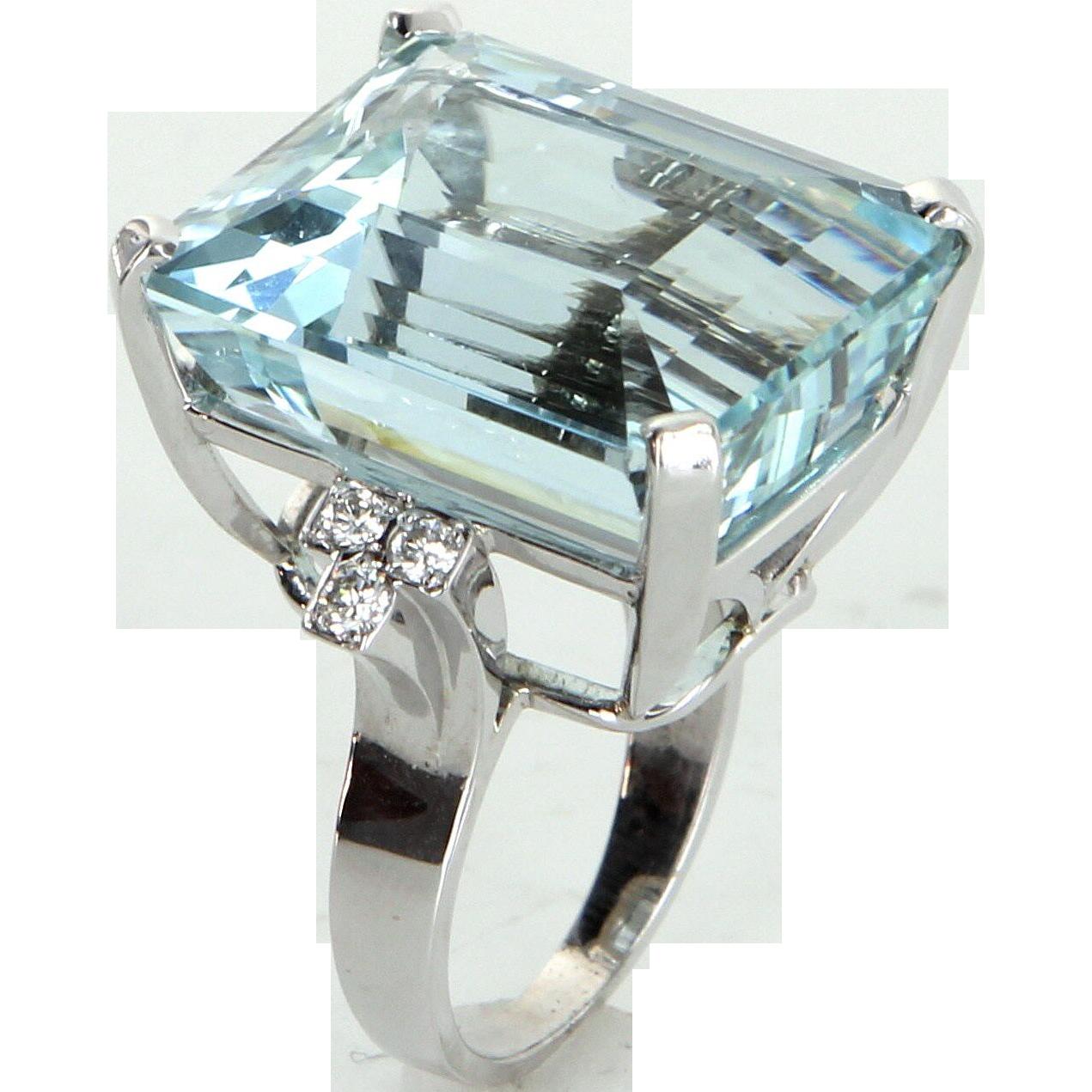 30ct Aquamarine Diamond Cocktail Ring Vintage 14 Karat White Gold from precio