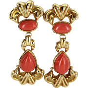 Red Coral Door Knocker Earrings Vintage 18 Karat Yellow Gold Estate Fine Jewelry