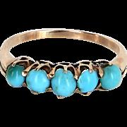 5 Stone Turquoise Band Ring Vintage 10 Karat Rose Gold Estate Fine Jewelry Heirloom