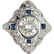 Vintage Art Deco 2.28ct Diamond Sapphire Cocktail Ring Estate Platinum Jewelry Fine
