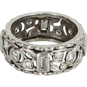 Vintage Art Deco 900 Platinum Diamond Sz 6.5 Eternity Ring Estate Fine Jewelry Heirloom