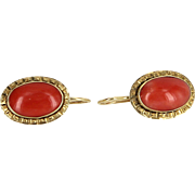 Natural Mediterranean Red Coral Drop Earrings Vintage 14 Karat Gold Estate Jewelry